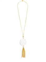 36 inch chain necklace with white resin cutout pendant with gold hardware