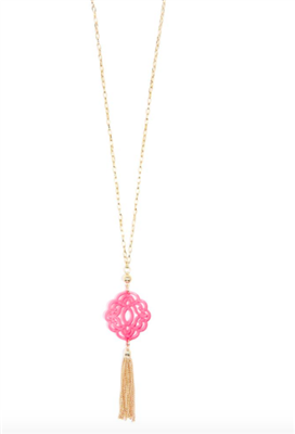36 inch chain necklace with neon pink resin cutout pendant with gold hardware