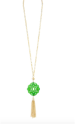 36 inch chain necklace with green resin cutout pendant with gold hardware