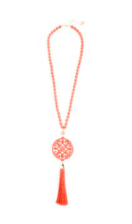 women's 31.5 inch beaded necklace with coral resin cutout pendant with coral tassel gold hardware