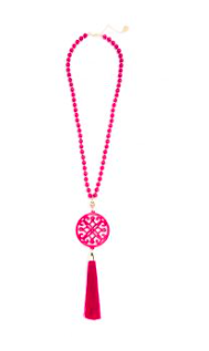 women's 31.5 inch beaded necklace with hot pink resin cutout pendant with hot pink tassel gold hardware