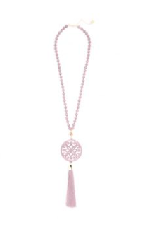women's 31.5 inch beaded necklace with rose resin cutout pendant with rose tassel gold hardware