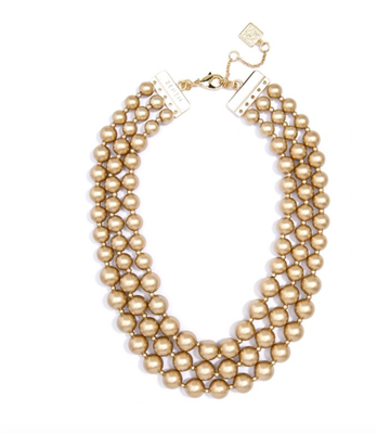"Women's 19"" 3 strand Matte gold bead Necklace"