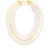 "17.5""inch 5 row beaded  Pearl Collar Necklace"