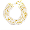 17.5 inches long , women's 10 row beaded  Pearl Collar Necklace