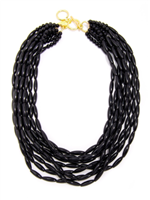 "18"" black glossy beaded Necklace"