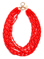 "18"" flame red glossy beaded Necklace"