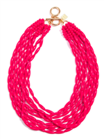 "18"" hot pink glossy beaded Necklace"