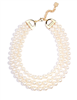 "women's 17.5"" 3 row beaded  Pearl Collar Necklace"