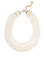 "17.5"" 3 row beaded  Pearl Collar Necklace"