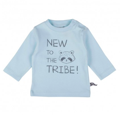 blue long sleeve baby tee that says new to the tribe