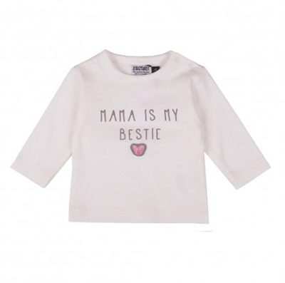 White long sleeve baby tee with pink heart