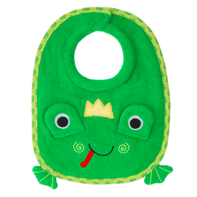 green cotton frog bib for baby