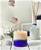 11.5 oz candle in hand blown glass with 2 wicks, Demilune Bleu Royal candle