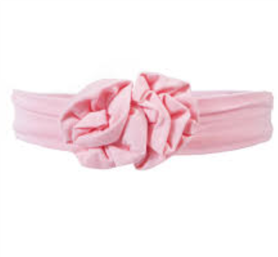 baby bamboo flower headband in lotus pink