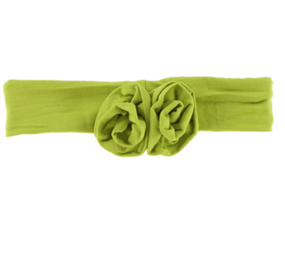 baby bamboo flower headband in Meadow Green