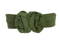 baby bamboo flower headband in Moss Green
