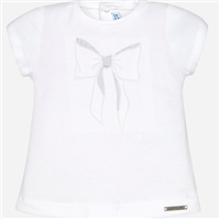 White short sleeve stretch cotton baby tee with embroidered bow on the front