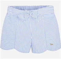 100% cotton blue and white stripe  shorts with elastic waist in the back and bow detail on the front