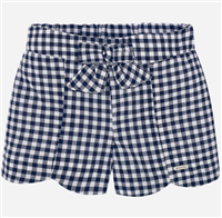 100% cotton navy and white gingham shorts with elastic waist in the back