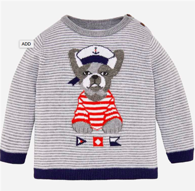 baby gray striped cotton sweater with a dog on the front