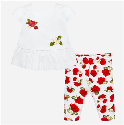 baby cotton floral leggings with marching white time with appliqué flowers