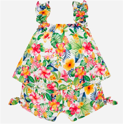 baby 100% cotton tropical print one piece playsuit