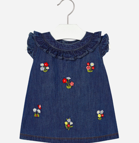 a764a116f5e2 100% cotton denim dress with embroidered flowers and a ruffle trim and neck  and sleeve