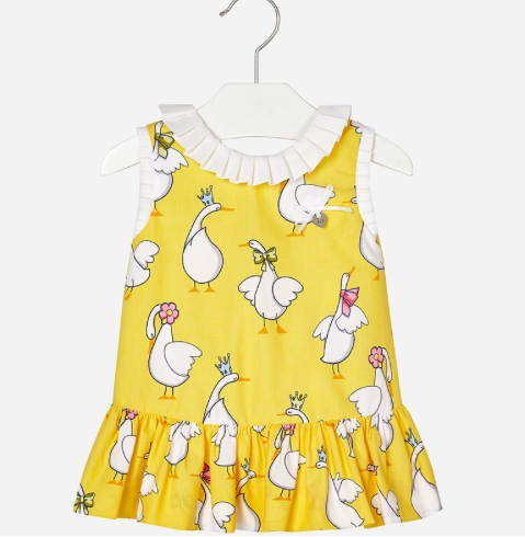 ab24c08f9 yellow 100% cotton dress with white geese, pleated skirt and white ruffle  trim at