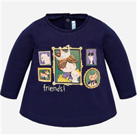 "navy long sleeve t-shirt that reads ""Friends"""