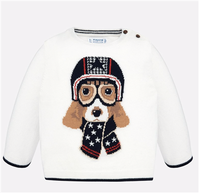 baby boy cream sweater with a dog on the front