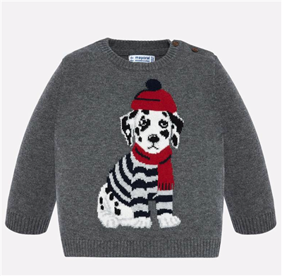 baby boy grey sweater with a puppy on the front