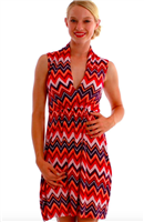 ladies sleeveless  jersey dress with elastic waist  and slouch collar with a deep neck in Chevron Orange