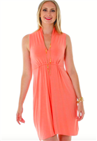 ladies sleeveless  jersey dress with elastic waist  and slouch collar with a deep neck in Desert