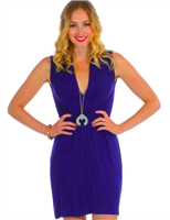 ladies sleeveless  jersey dress with elastic waist  and slouch collar with a deep neck in Navy
