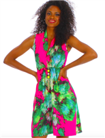 ladies sleeveless  jersey dress with elastic waist  and slouch collar with a deep neck in pink floral