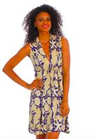 ladies sleeveless  jersey dress with elastic waist  and slouch collar with a deep neck in Seahorse Navy