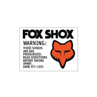 Fox Gas Shock Warning decal set