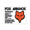 Fox Airshox Early with head decal sticker set