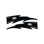 JT Racing Lightning Bolt - 6inch Black-White