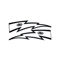 JT Racing Lightning Bolt - 6inch White Black