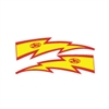 JT Racing Lightning Bolt - 6inch Yellow Red