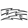 JT Racing Lightning Bolt - 10inch White Black