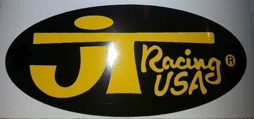 JT Racing oval decal sticker black / yellow