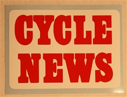 Vintage Cycle News decal sticker