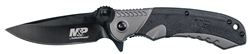 "Smith & Wesson M2.0 M&P Ultra Glide Flipper Knife 3.5"" Black Drop Point Blade, Gray Aluminum Handles with Rubber Inserts"