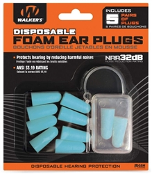 Walker's Disposable Foam Ear Plugs with Carrying Case - 5 Pairs - Teal