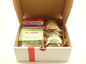 Gift box with three dip mixes and two jars