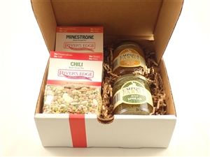 Gift box with two bean soup mixes and two jars