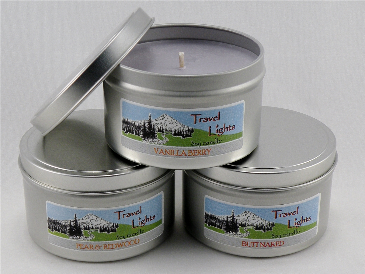 Lg LEATHER /& CEDAR Triple Scented Travel Hiking Camping Candle Tin MENS GIFTS